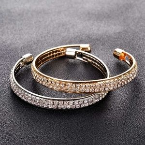 Jewelry - Pave Crystal Double Row Open Cuff Bangle Bracelet